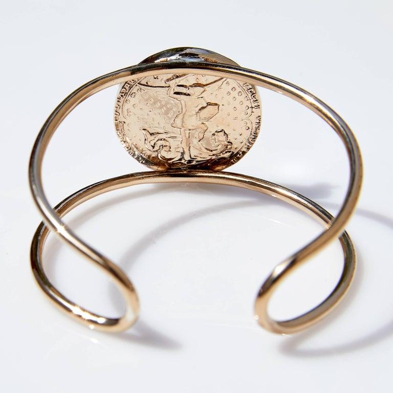 Contemporary Rose Joan of Arc Medal Arm Cuff Bangle Smoky Quartz Silver Bronze J Dauphin For Sale