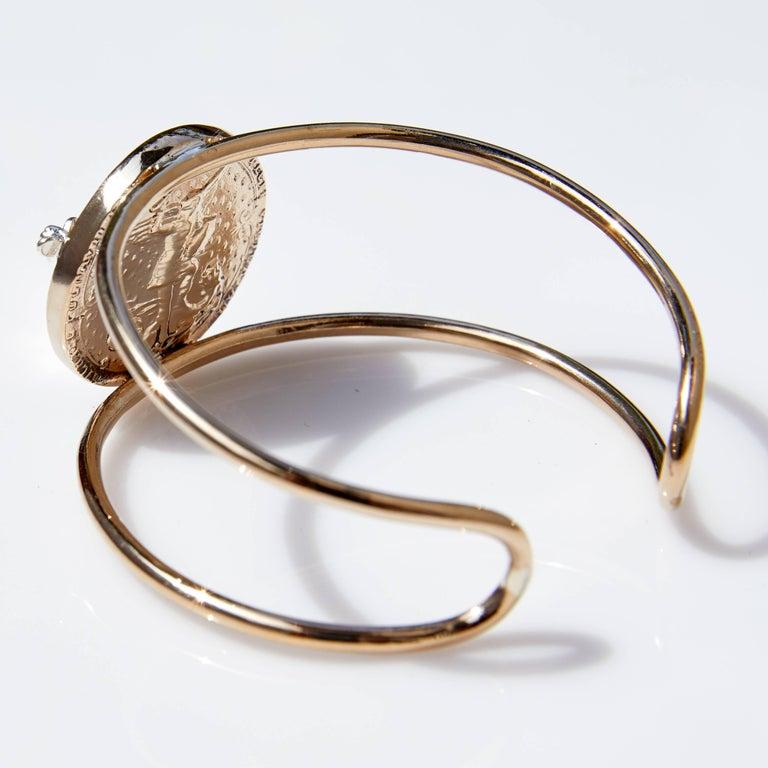 Round Cut Rose Joan of Arc Medal Arm Cuff Bangle Smoky Quartz Silver Bronze J Dauphin For Sale