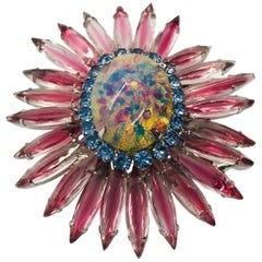 "Rose, Light Sapphire Austrian Crystal and Czech Fire Opal ""Ruffle"" Brooch"