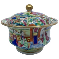 Rose Mandarin Chinese Porcelain Lidded Bowl