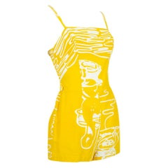 Rose Marie Reid Yellow Abstract Sun Suit Play Suit Beach Romper – XS, 1950s