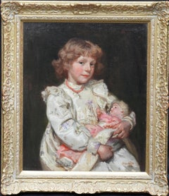 Portrait of a Girl with Doll - British Edwardian art portrait oil painting