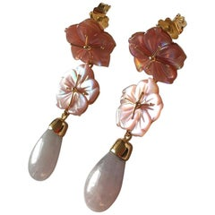Rose Mother of Pearl Imperial Jade Drops 18 Karat Gold Earrings