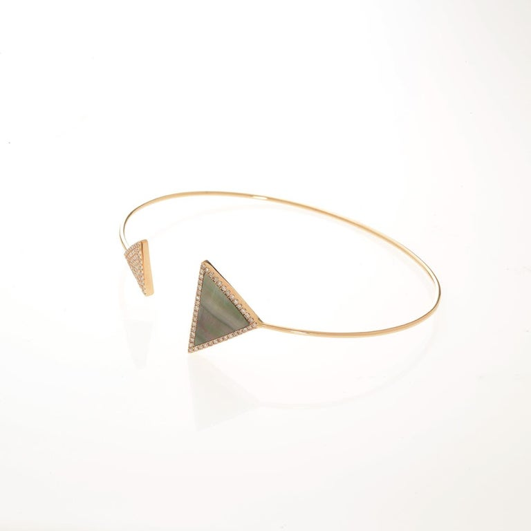 Pave diamonds (0.21 ctw) and rose mother of pearl (4.06 ct) triangle bangle in 18k yellow gold  Flexible bangle  60mm diameter