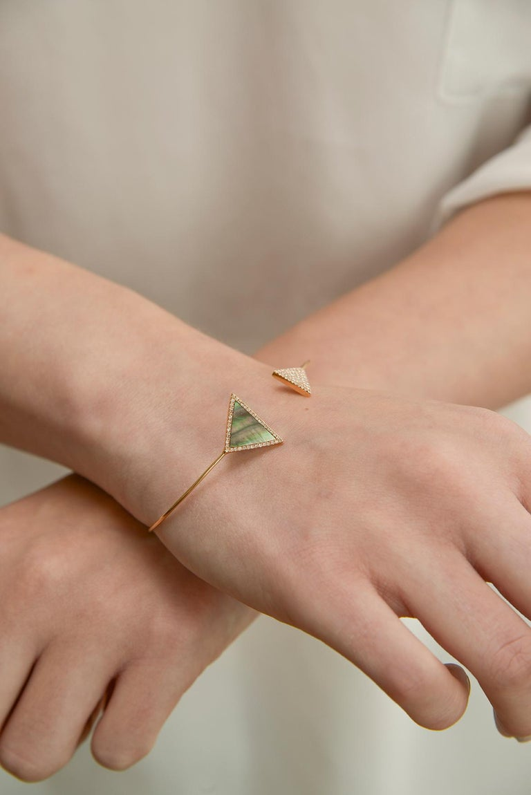 Women's or Men's Rose Mother-of-Pearl Triangle Bangle For Sale