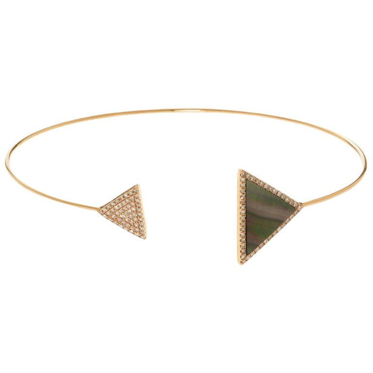 Rose Mother-of-Pearl Triangle Bangle For Sale