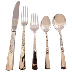 Rose Motif by Stieff Sterling Silver Flatware Service for 6 Set 30 Pieces