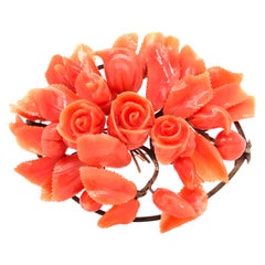 Rose Motif Coral Brooch