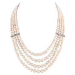 Pink Spheres Rows Coral, Diamonds, 14K White Gold Beaded/Multi-Strands Necklace