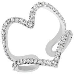Rose or White Gold White Diamond Ring, Open Heart Ring
