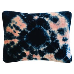 Rose Pink and Blue Indigo Halo Velvet Pillow with Linen Backing