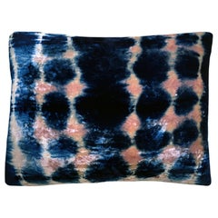 Rose Pink and Blue Indigo Inkblot Velvet Pillow with Linen Backing