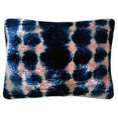 Rose Pink and Blue Indigo Inkblot Velvet Pillow with Linen Backing