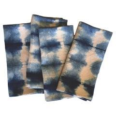 Rose Pink and Blue Indigo Pleat Linen Napkins Set of 4