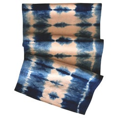 Rose Pink and Blue Indigo Pleat Linen Table Runner