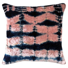 Rose Pink and Blue Indigo Pleat Velvet Pillow with Linen Backing