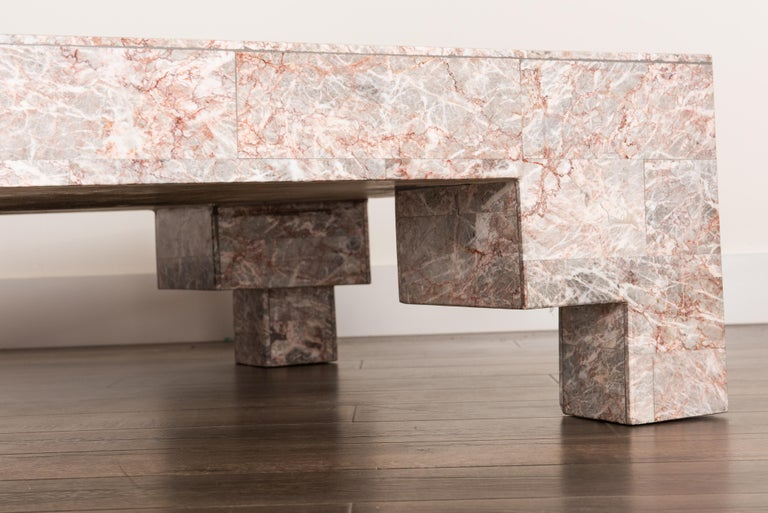 Rose Pink and Grey Marble Post-Modern Coffee Table, circa 1980 For Sale 5