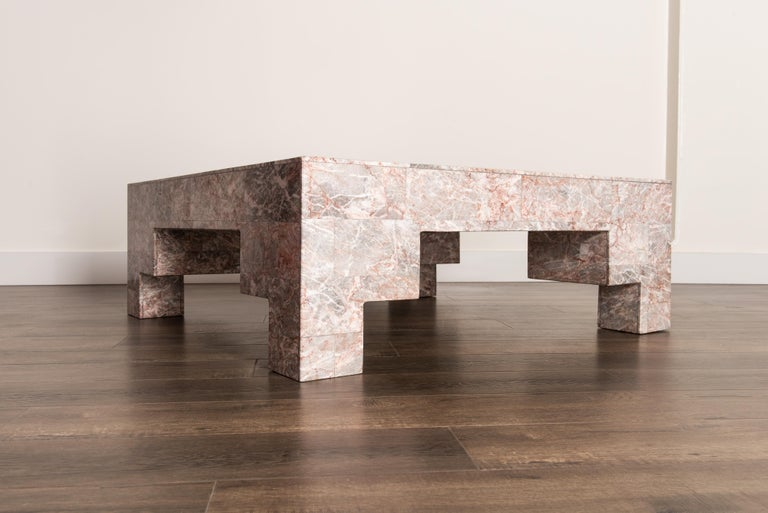 Rose Pink and Grey Marble Post-Modern Coffee Table, circa 1980 For Sale 6
