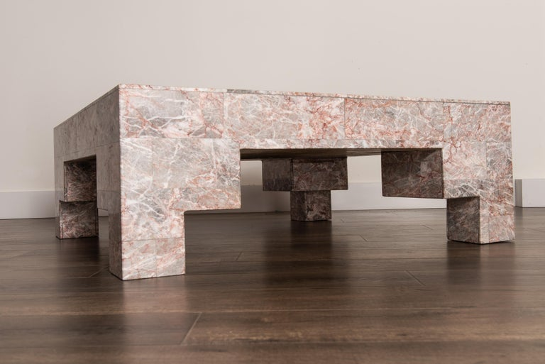 Rose Pink and Grey Marble Post-Modern Coffee Table, circa 1980 For Sale 7