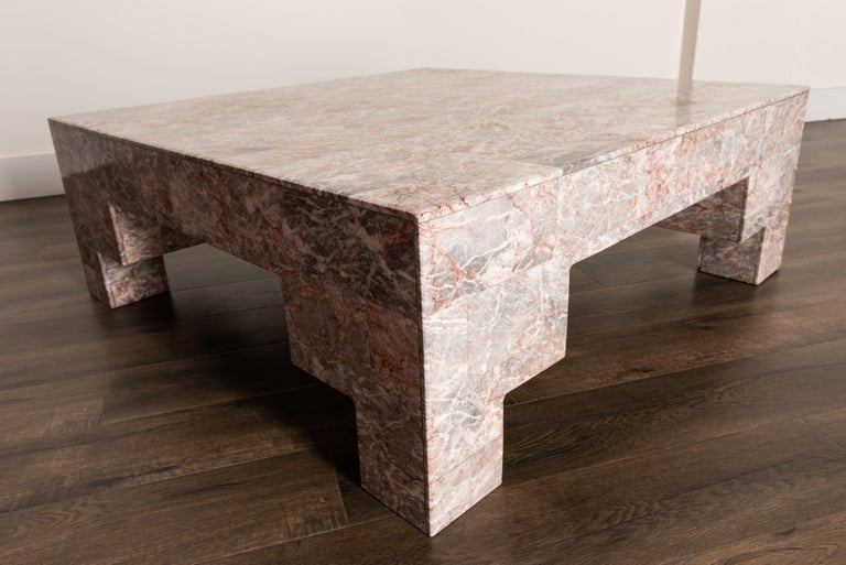 Rose Pink and Grey Marble Post-Modern Coffee Table, circa 1980 For Sale 8