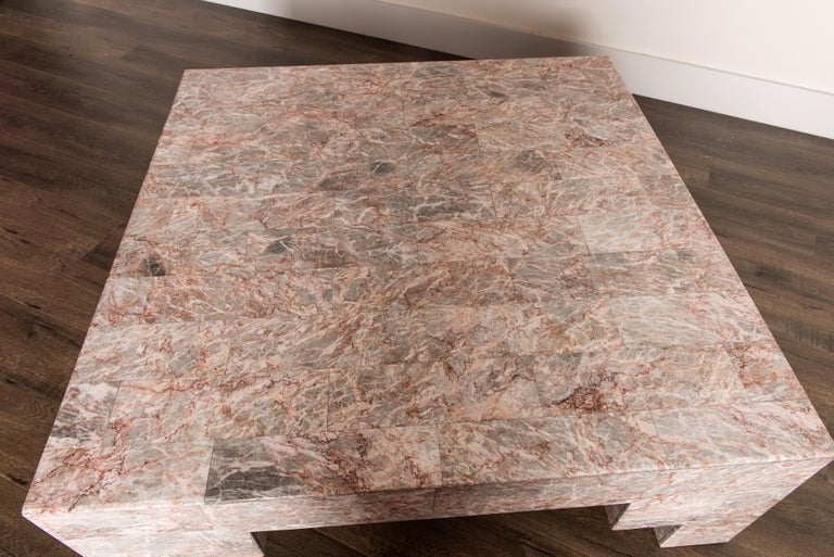 Rose Pink and Grey Marble Post-Modern Coffee Table, circa 1980 For Sale 9