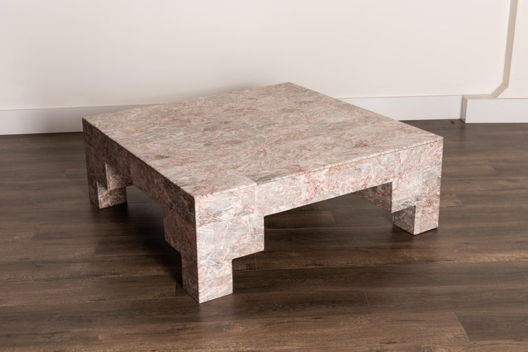 Rose Pink and Grey Marble Post-Modern Coffee Table, circa 1980 In Good Condition For Sale In Los Angeles, CA