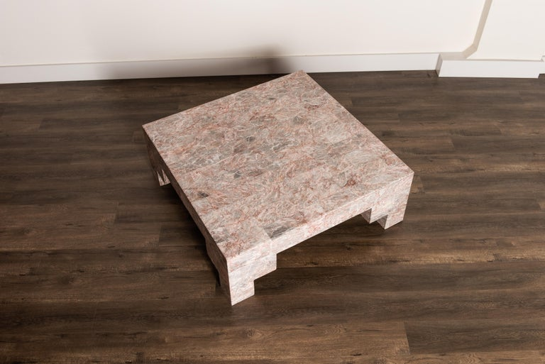 Rose Pink and Grey Marble Post-Modern Coffee Table, circa 1980 For Sale 1