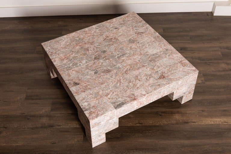 Rose Pink and Grey Marble Post-Modern Coffee Table, circa 1980 For Sale 2
