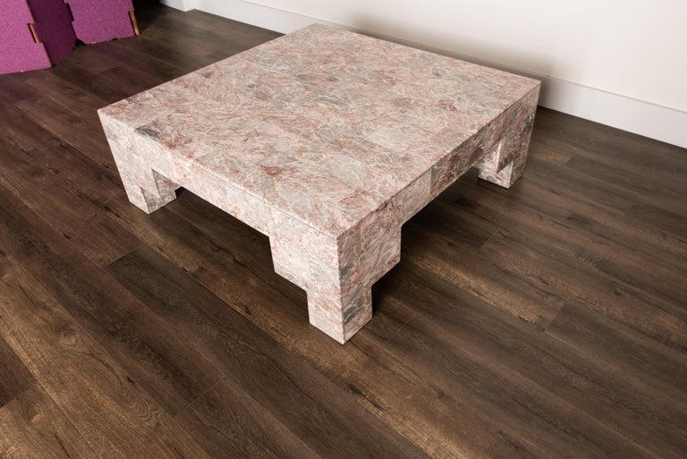 Rose Pink and Grey Marble Post-Modern Coffee Table, circa 1980 For Sale 3