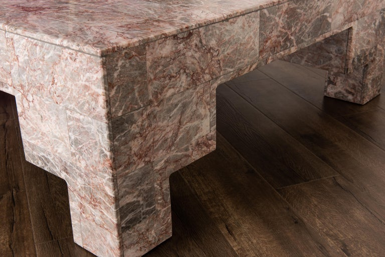 Rose Pink and Grey Marble Post-Modern Coffee Table, circa 1980 For Sale 4