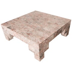 Rose Pink and Grey Marble Post-Modern Coffee Table, circa 1980