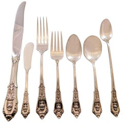 Rose Point by Wallace Sterling Silver Dinner Size Flatware Set of 12 Service
