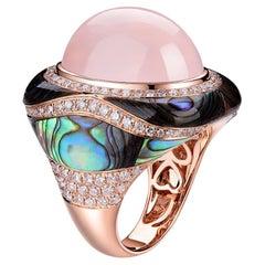 Rose Quartz Abalone Shell Diamond Dome Ring in 18 Karat Rose Gold