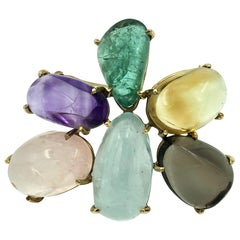 Rose Quartz, Amethyst, Emerald, Aquamarine, Citrine, Topaz Brooch