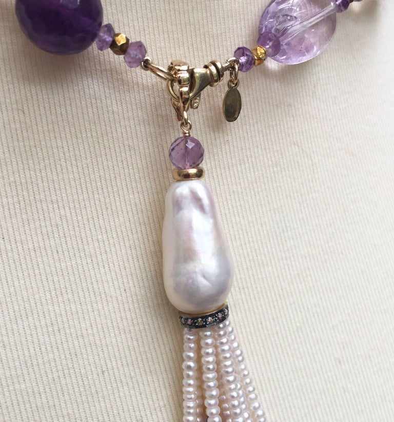 Rose Quartz, Amethyst, Pearl Beaded sautoir with Tassel and 14 k Gold Clasp  For Sale 8