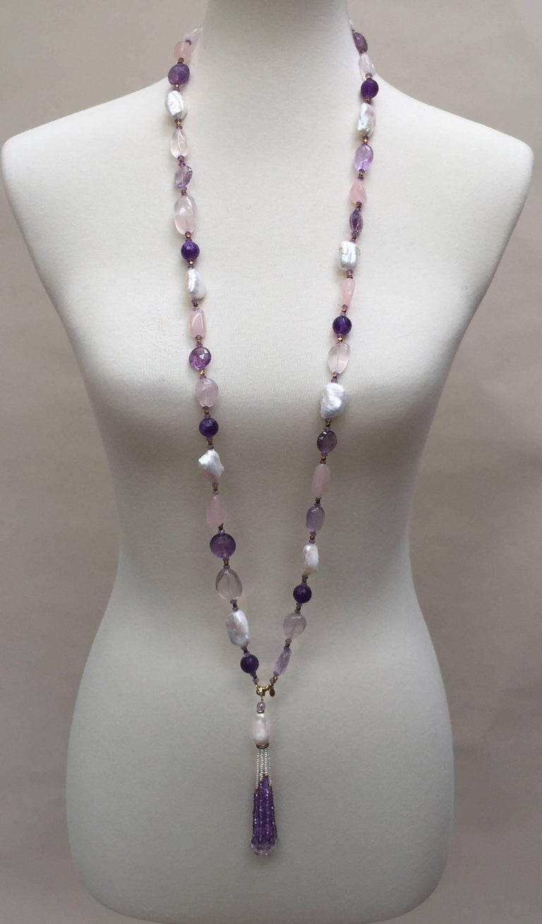 Rose Quartz, Amethyst, Pearl Beaded sautoir with Tassel and 14 k Gold Clasp  In New Condition For Sale In Beverly Hills, CA