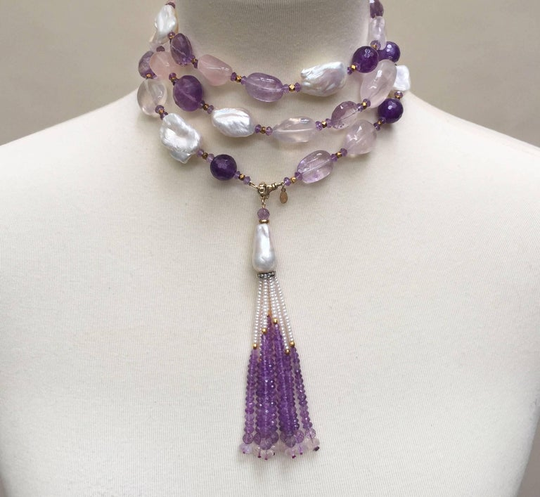 Rose Quartz, Amethyst, Pearl Beaded sautoir with Tassel and 14 k Gold Clasp  For Sale 3