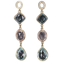 Rose Quartz and Blue Topaz Earrings with Diamonds, 18 Karat Yellow