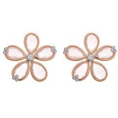 Rose Quartz and Diamond 18 Karat Gold Earrings