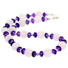 Gemjunky Debutante Rose Quartz and Pearl and Large Gem Cut Amethysts Necklace