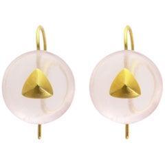 Ico & the Bird Fine Jewelry Rose Quartz Cabochon 22k Gold Earrings