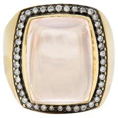 Rose Quartz Cabochon Diamond 14 Karat Yellow Gold Gemstone Cocktail Ring