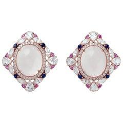 Rose Quartz Diamond 18 Karat Gold Stud Earrings