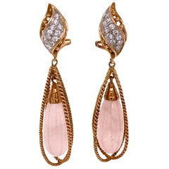 Rose Quartz Diamond Drop Yellow Gold Earrings