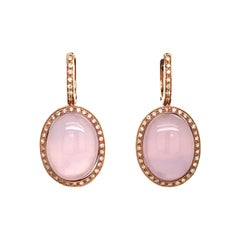 Rose Quartz Diamonds and Bakelite Rose Gold Earrings