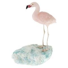 Rose Quartz Flamingo on an Aquamarine Mineral Specimen Base