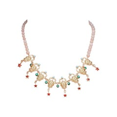 Rose Quartz Necklace with 18 Carat Gold plated Silver Satyr from IOSSELLIANI
