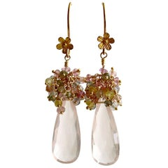 Rose Quartz Pastel Sapphires Cluster Tendrils Earrings Juliet IV Earrings