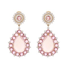 Rose Quartz Pink Sapphire 18 Karat Gold Diamond Teardrop Earring
