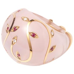 Rose Quartz Ring with Yellow Gold inlay set with Rubies and Diamonds